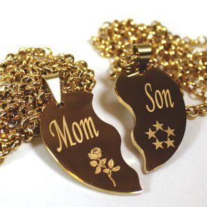 Jewelry - Mom Son Split Heart Necklaces Gold Stainless Thick